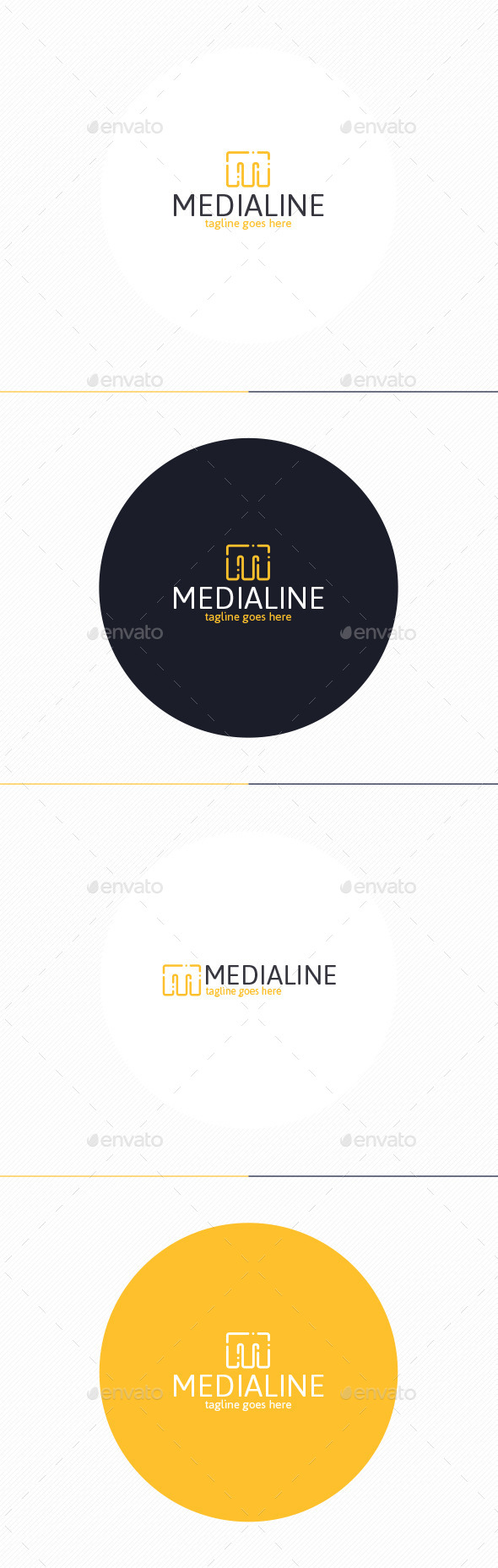 GraphicRiver Media Line Logo Letter M 10271359