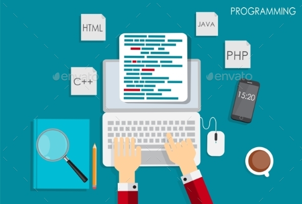 GraphicRiver Programming Coding Flat Concept Illustration 10271413