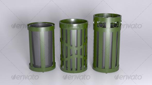 3DOcean Outdoor Trash Receptacles 129576
