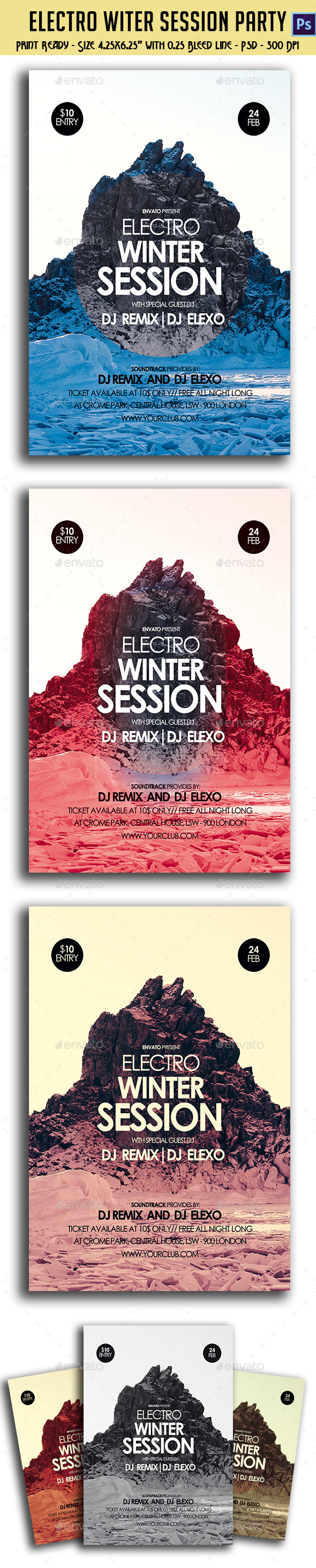 GraphicRiver Electronic Winter Session Party Flyer 10236445
