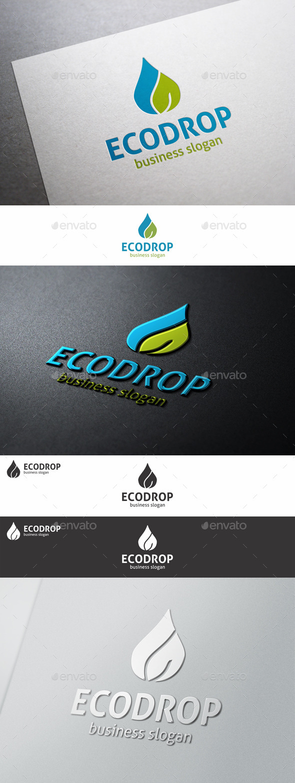 GraphicRiver Green Water Eco Drop Logo 10272485