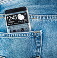 Smartphone with a transparent screen in a pocket of jeans. - PhotoDune Item for Sale