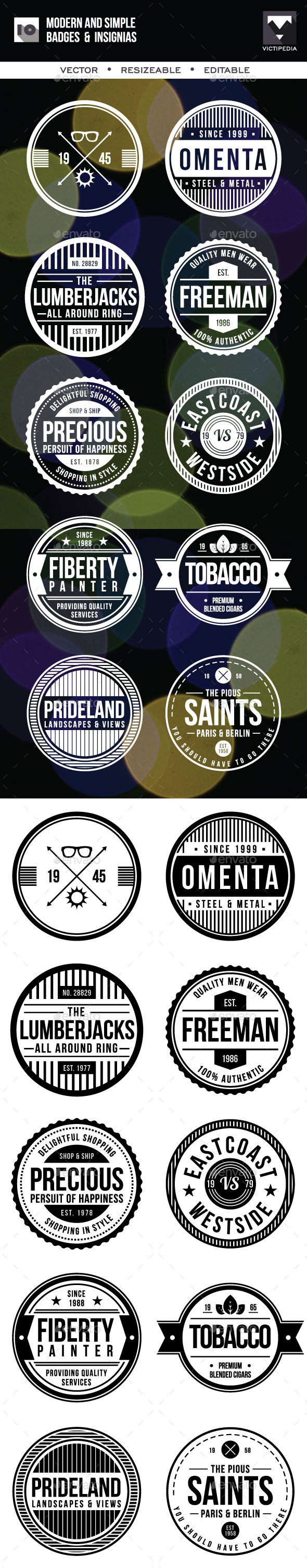GraphicRiver 10 Modern And SImple Badges 10274164