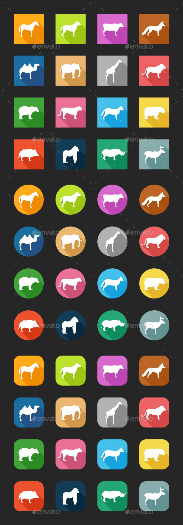 GraphicRiver Flat Icons Animals 10274181