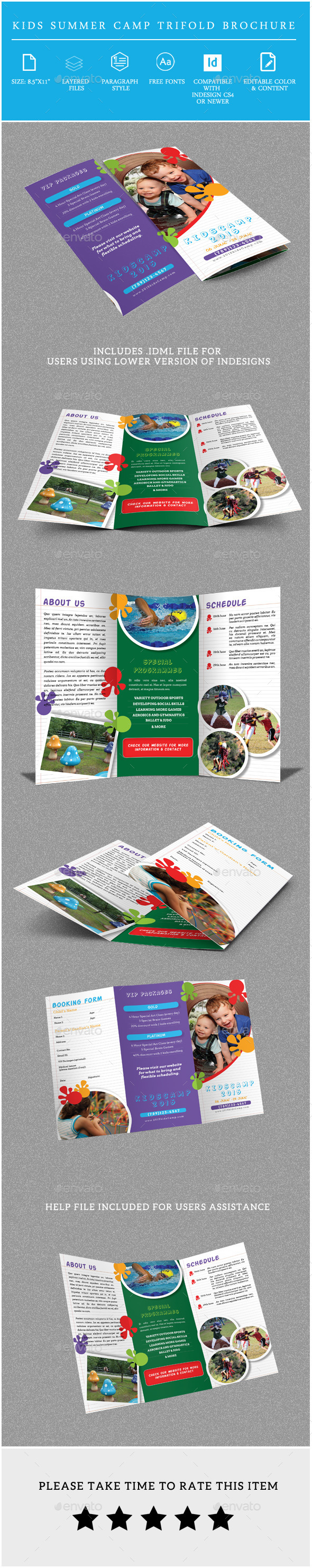 GraphicRiver Kids Summer Camp Trifold Brochure 10064239
