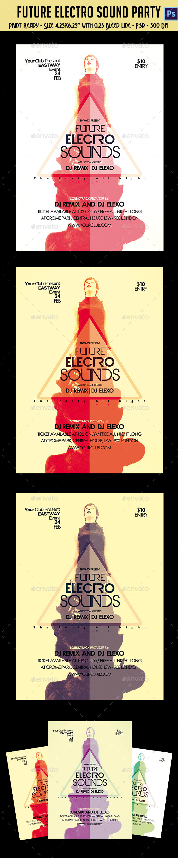 GraphicRiver Future Electro Sounds Party Flyer 10243377
