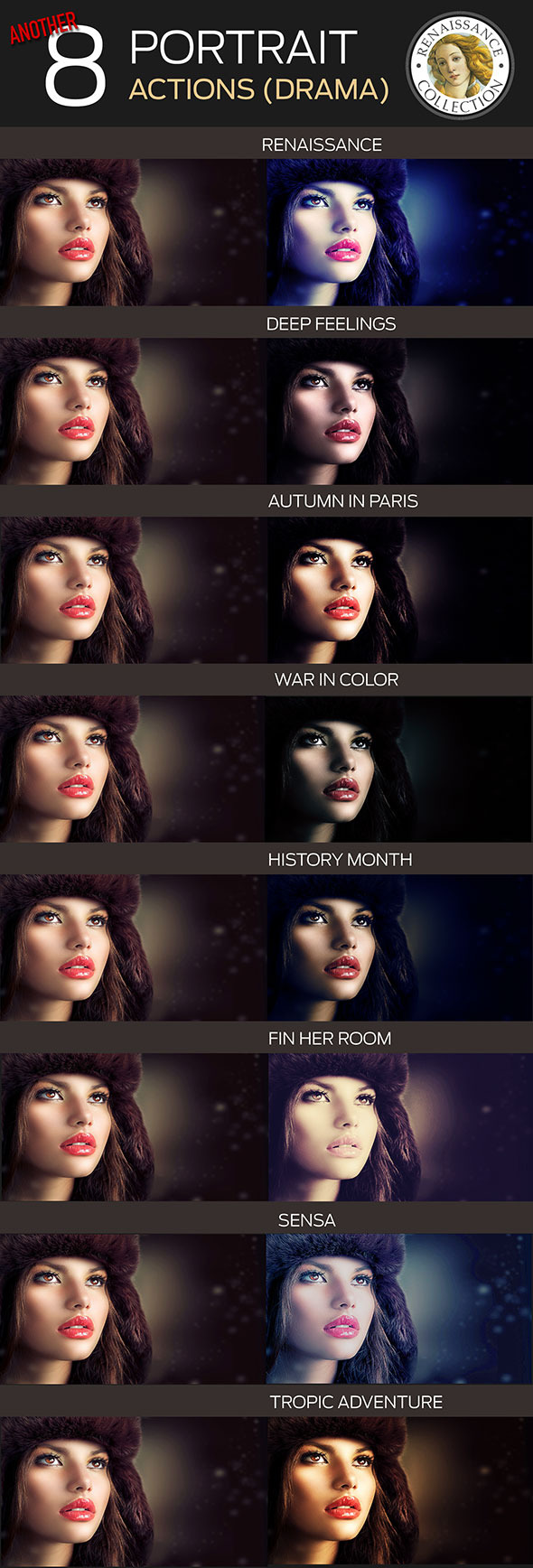 GraphicRiver 8 Renaissance Portrait Actions for Photoshop par 10275245