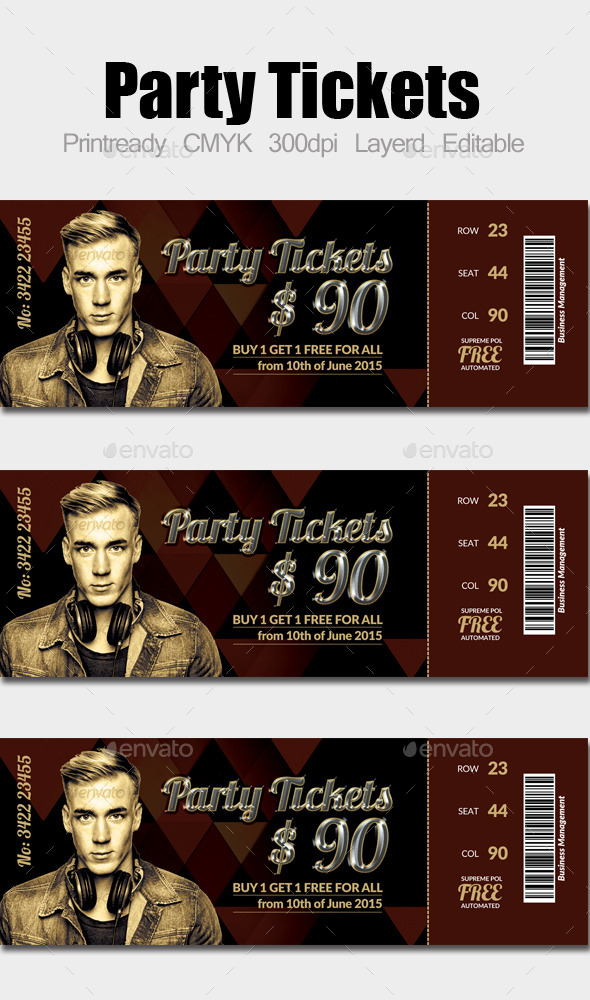 GraphicRiver Concert Pass Party Ticket 10275299