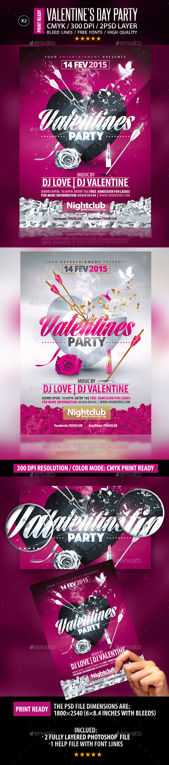 GraphicRiver Valentines Party Flyer Collection 10275310