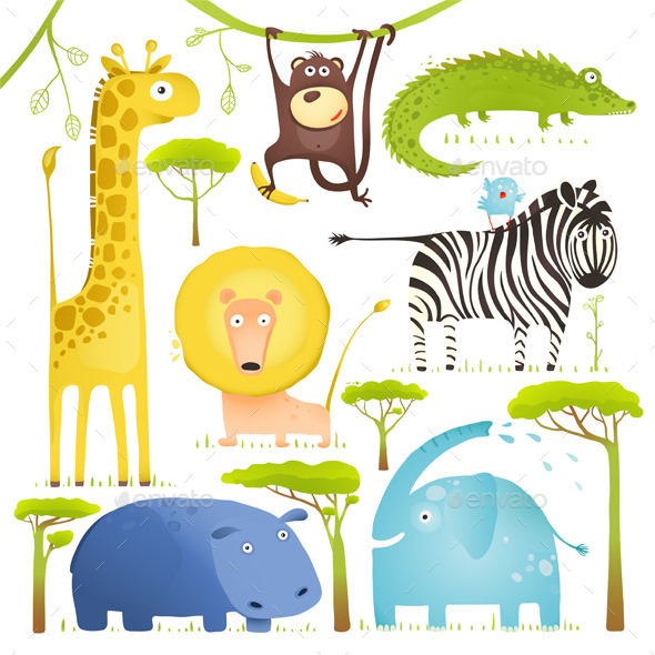 GraphicRiver African Animals Fun Cartoon Clip Art Collection 10275543