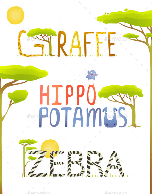 GraphicRiver Animals Hippopotamus Giraffe Zebra Fun Lettering 10275646