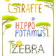 Animals Hippopotamus Giraffe Zebra Fun Lettering - GraphicRiver Item for Sale