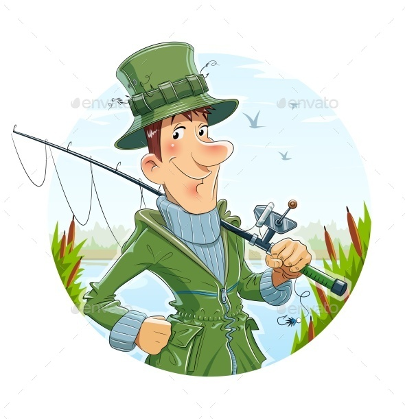GraphicRiver Fisherman with Rod Fishing 10275964