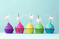 Colorful cupcakes with sparklers - PhotoDune Item for Sale