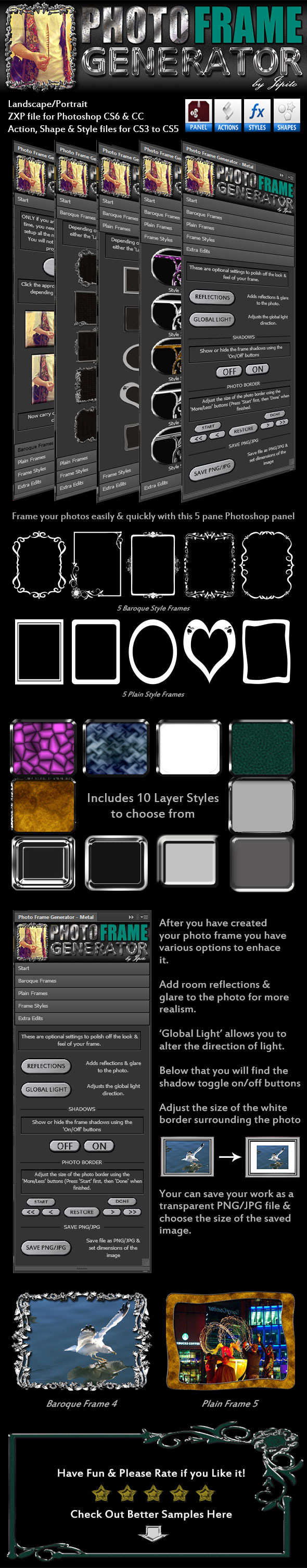 GraphicRiver Photo Frame Generator Panel Metal 10276545