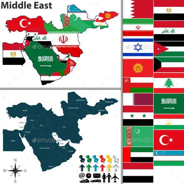 GraphicRiver Political Map of Middle East 10276858