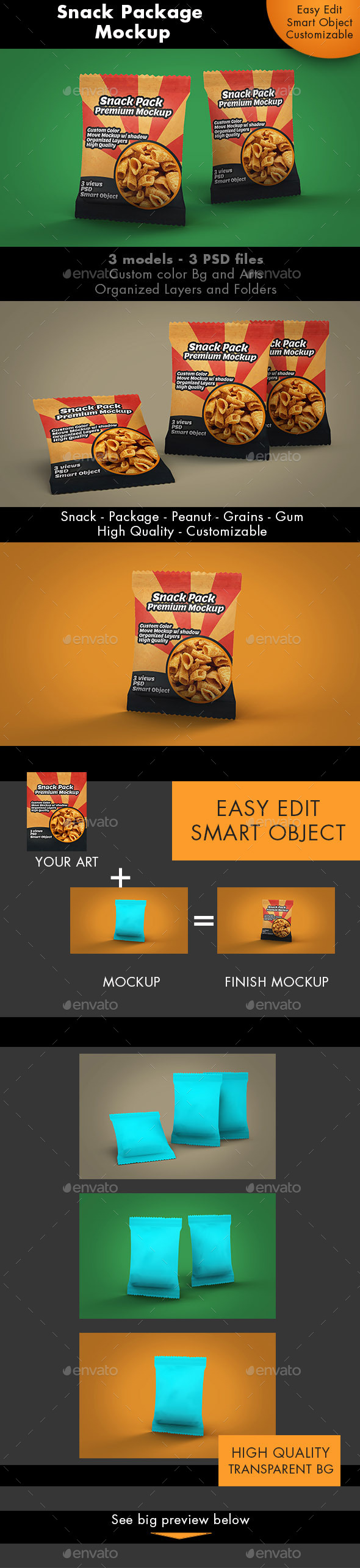 GraphicRiver Snack Package Mockup Premium 10277779