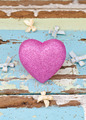 pink hearts and ribbons on grungy light blue wooden background - PhotoDune Item for Sale