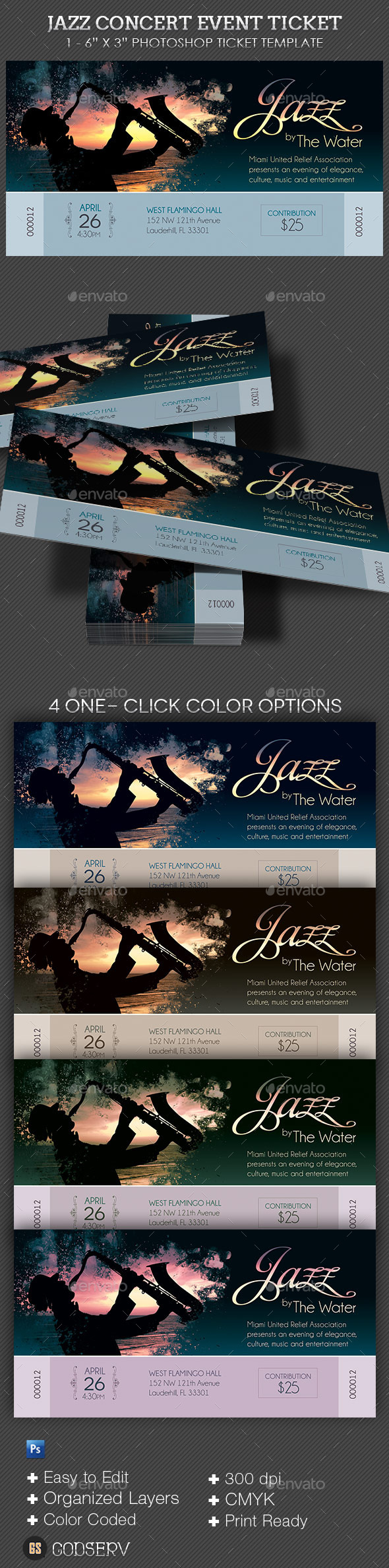 GraphicRiver Jazz Concert Event Ticket 10257691