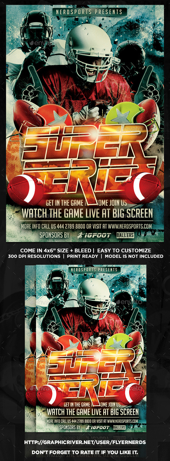 GraphicRiver Football Super Series Sports Flyer 10279759