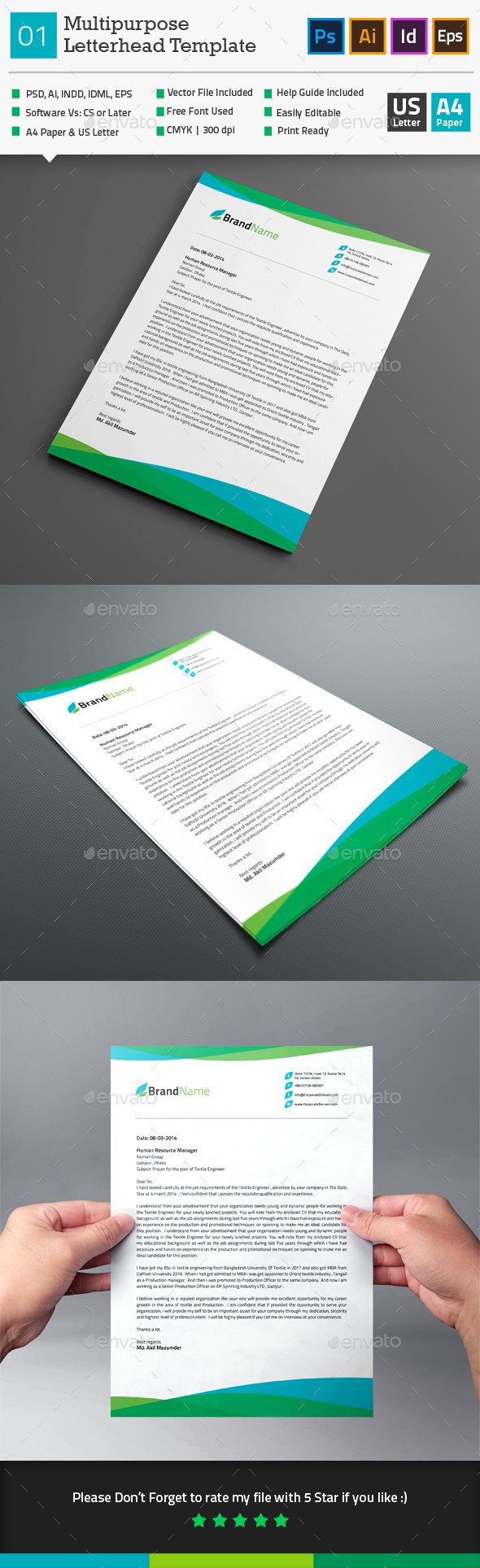 GraphicRiver Multipurpose Letterhead Template 01 10250236