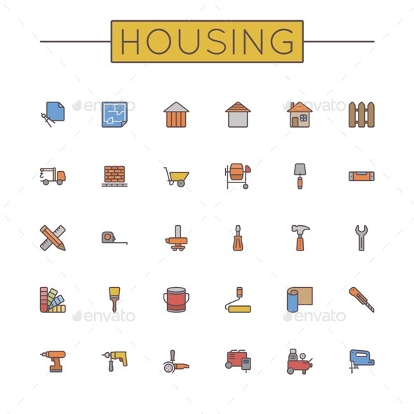 GraphicRiver Vector Colored Housing Line Icons 10280261