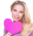 Cheerful female with pink heart - PhotoDune Item for Sale