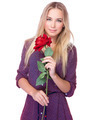 Gentle woman with red rose - PhotoDune Item for Sale