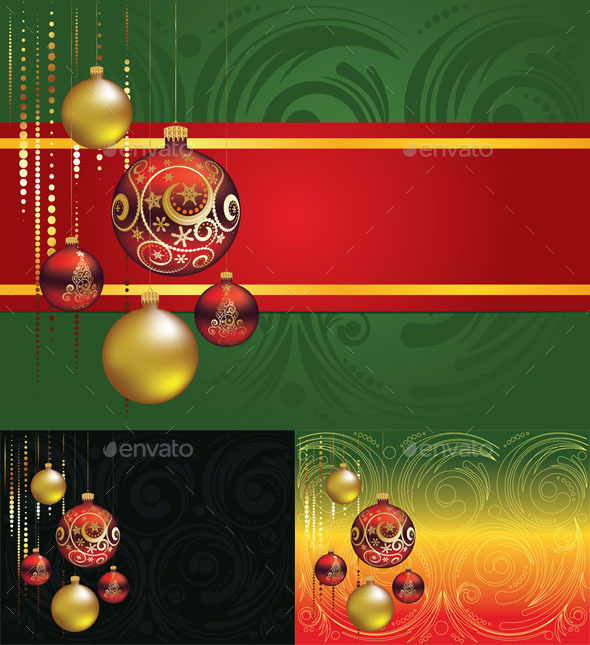 GraphicRiver Red and Gold Christmas Balls 10281726