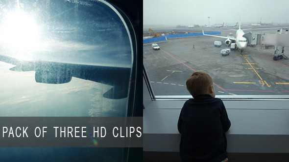 Boy at Airport and in Airplane