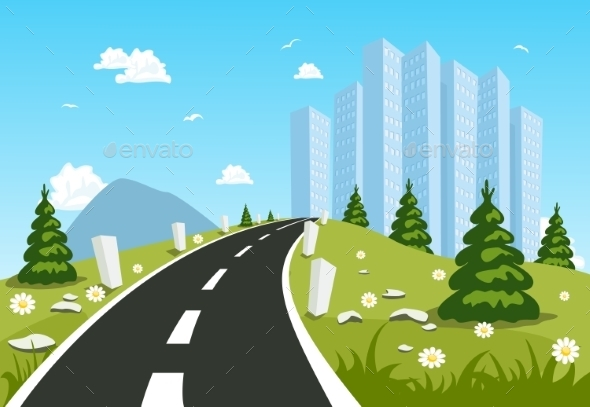 GraphicRiver Road Through the Countryside into the City 10282305