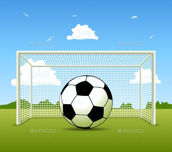 GraphicRiver Soccer Ball on a Green Field 10282313