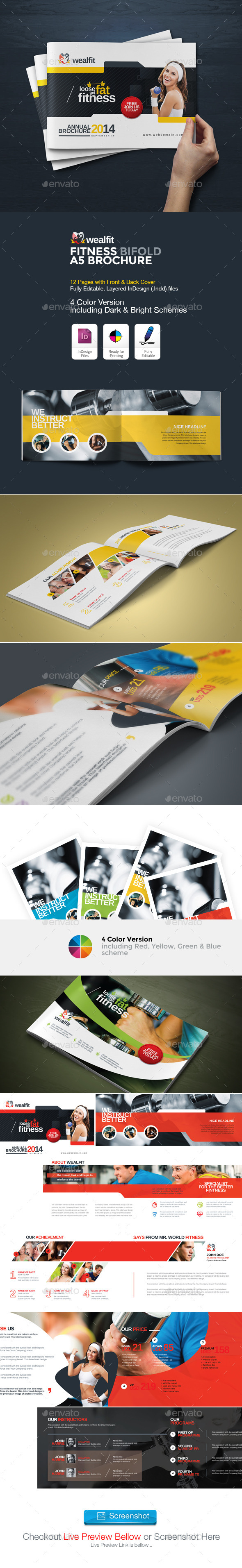 GraphicRiver WealFit Fitness Gym Bifold A5 Brochure 10282368
