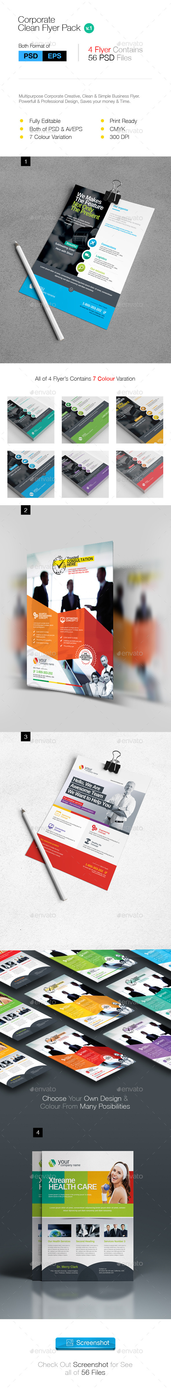 GraphicRiver Multipurpose Clean Business Flyer Pack 10282406