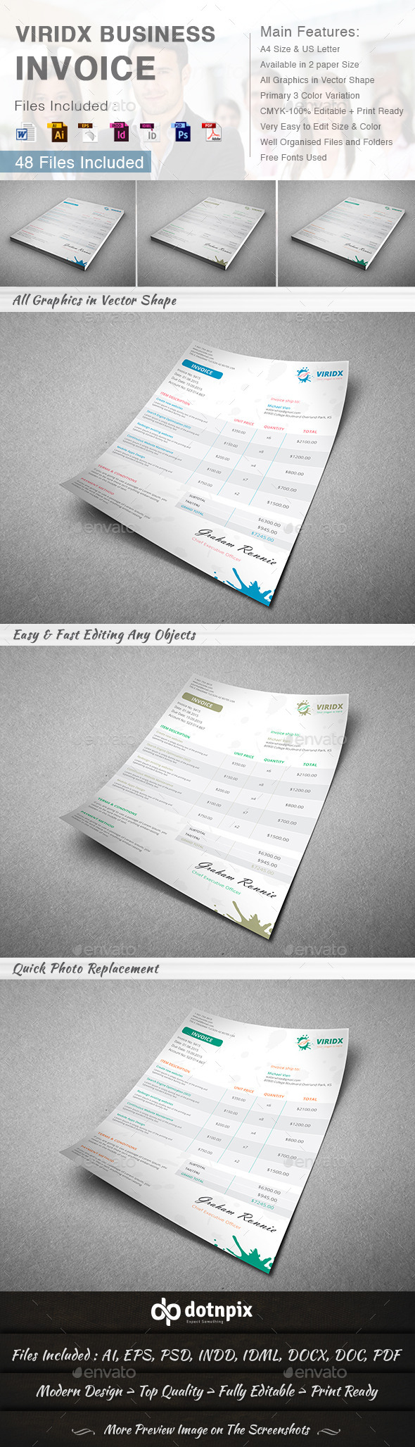 GraphicRiver Viridx Business Invoice 10282426