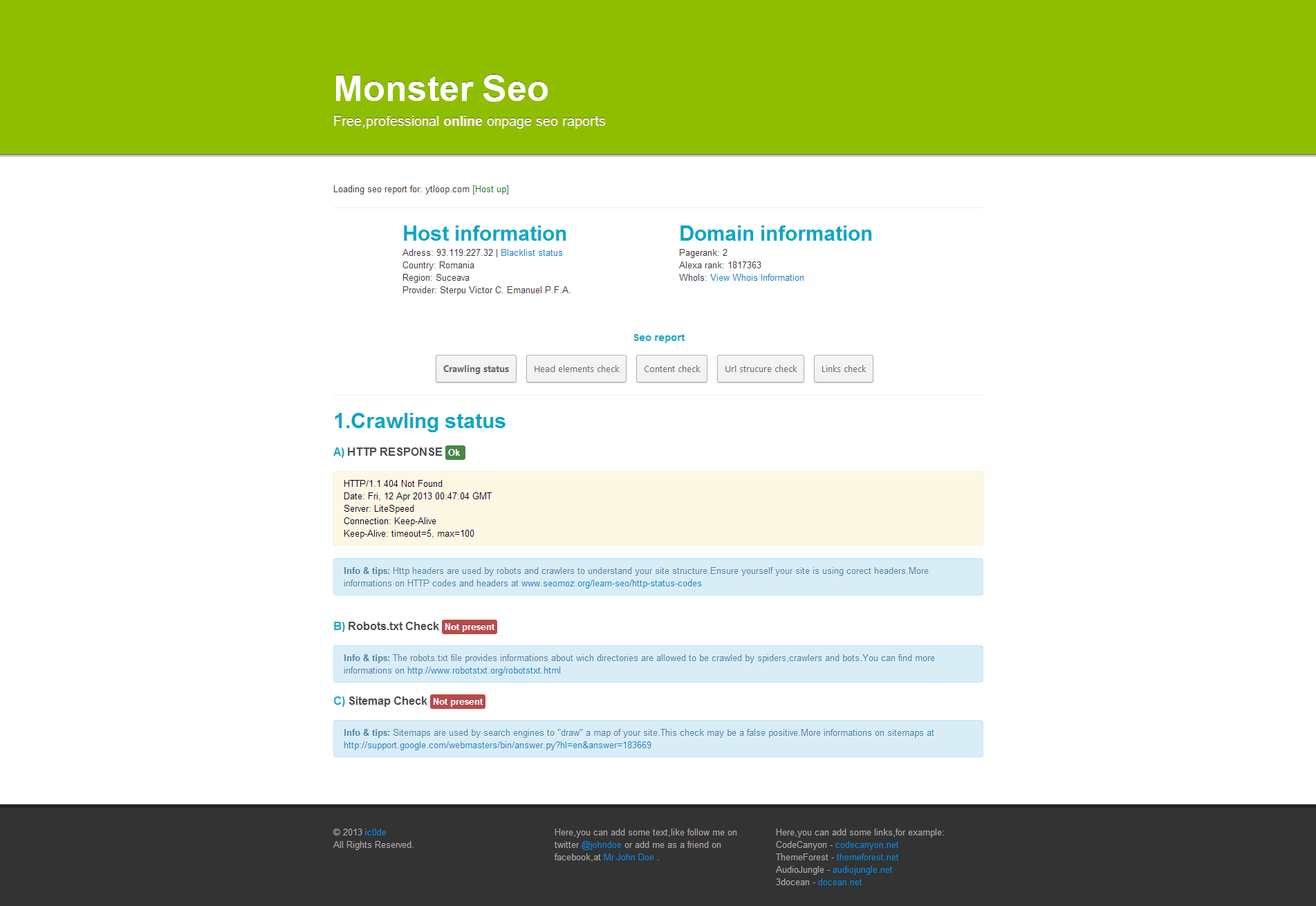 SeoMonster - OnPage SEO Raporting Script - On the first tab,the user can see his crawling report,including http code returned,sitemap check and robots.txt check.