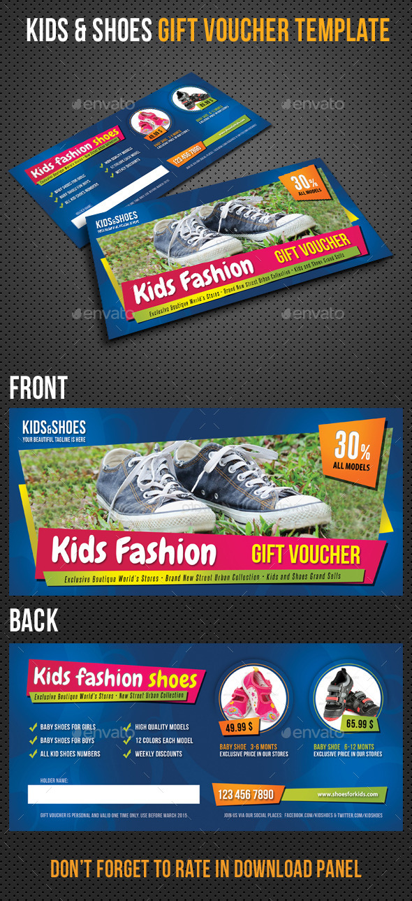 GraphicRiver Kids and Shoes Gift Voucher V02 10283127