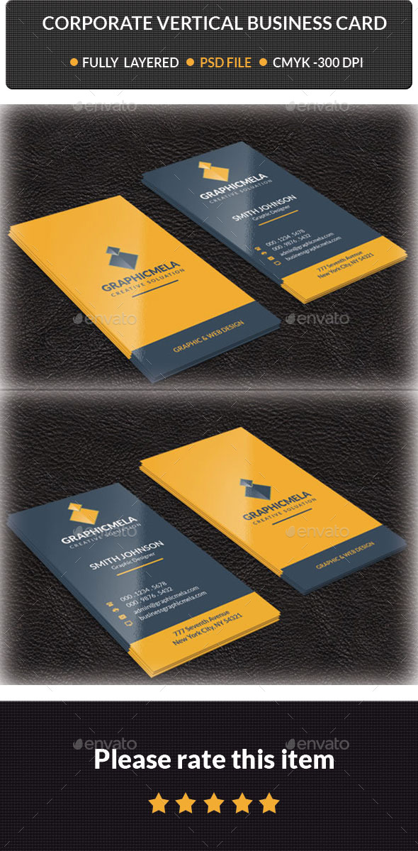 GraphicRiver Corporate Vertical Business Card 10244529