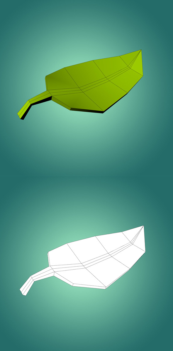 3DOcean Low Ply Leaf 3D Model 10283368