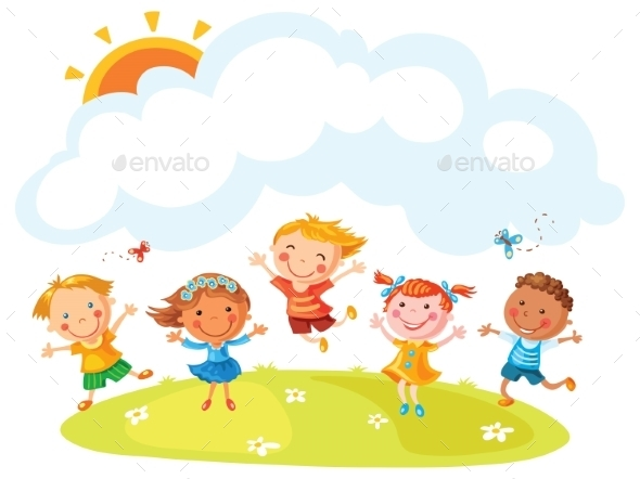 GraphicRiver Happy Cartoon Kids Jumping 10283370