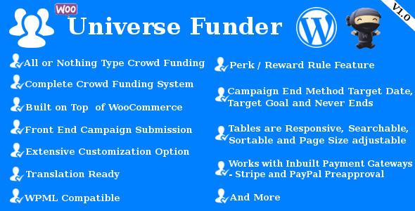 CodeCanyon Universe Funder WooCommerce Crowdfunding System 10283380