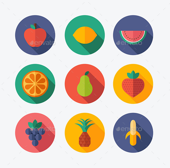 GraphicRiver Fruit Flat Icons 10283970