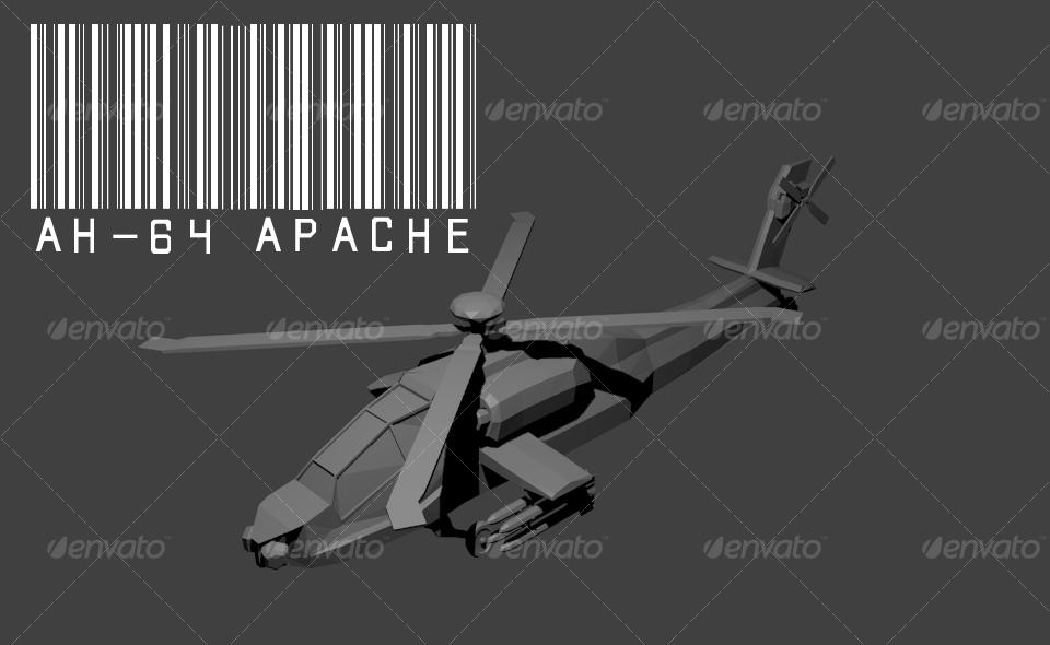 3DOcean AH-64 Apache Lowpoly model 129712