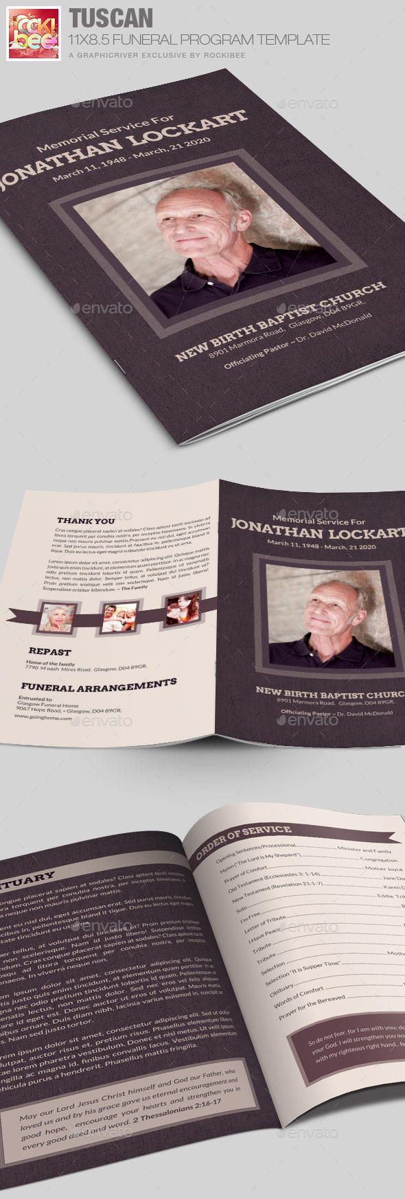 GraphicRiver Tuscan Funeral Program Template 10284891