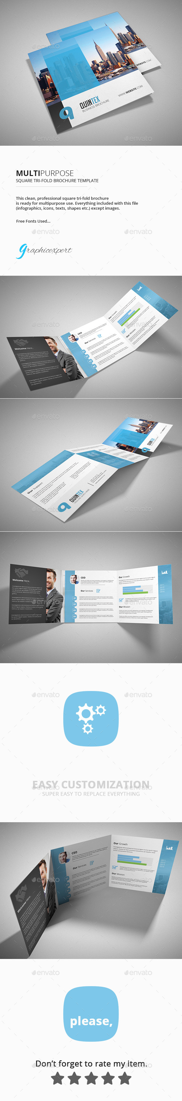 Square Tri-Fold Brochure Multipurpose