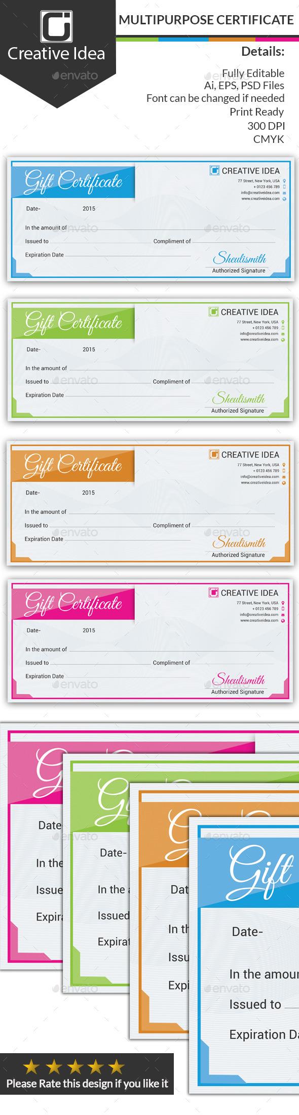 GraphicRiver Multipurpose Certificate 10285020