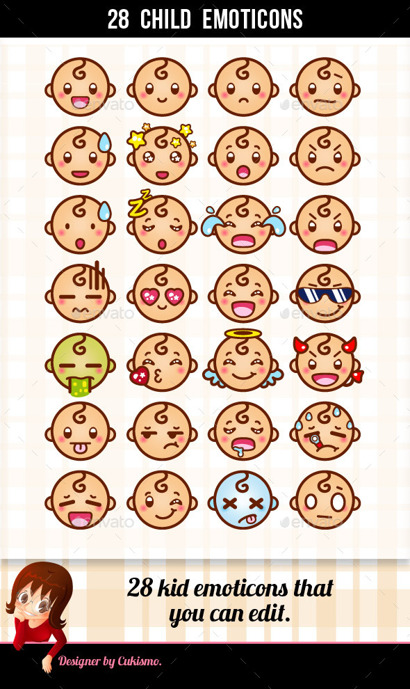 GraphicRiver 28 Child Emoticons 10257055