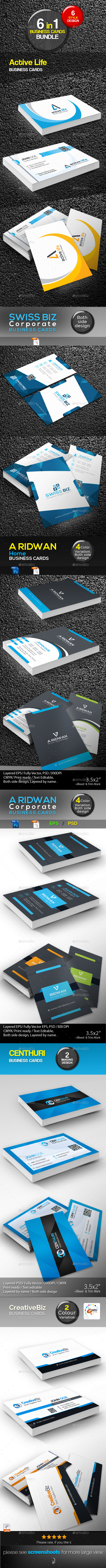 GraphicRiver Bundle corporate business card 6 in 1 10285143