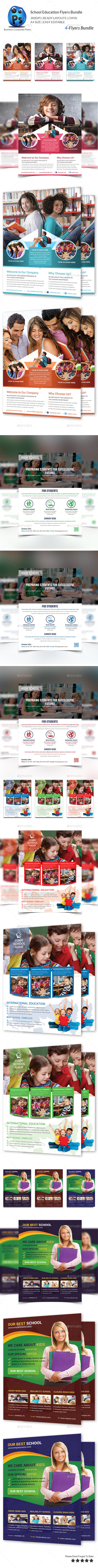 GraphicRiver School Education 4 Flyers Bundle 10285441