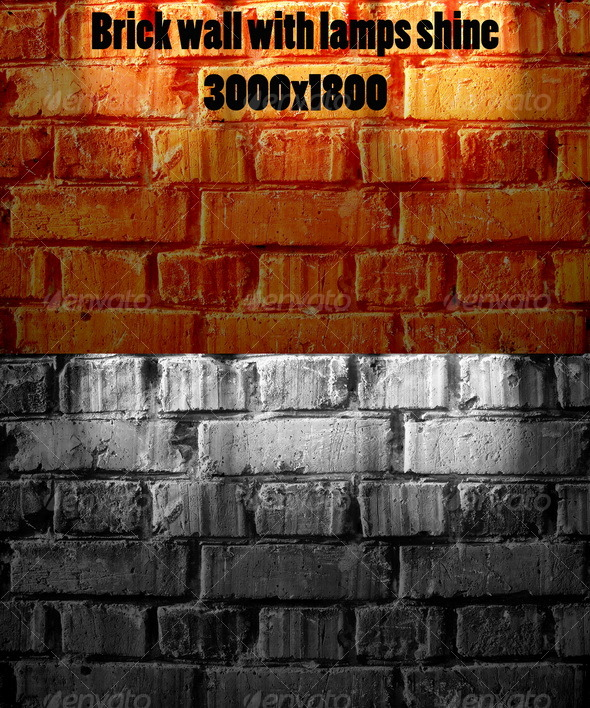 Brick wall with lamps shine - Backgrounds Graphics